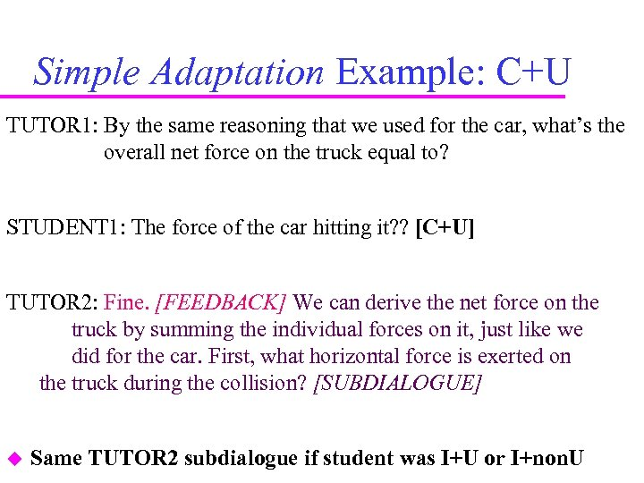 Simple Adaptation Example: C+U TUTOR 1: By the same reasoning that we used for