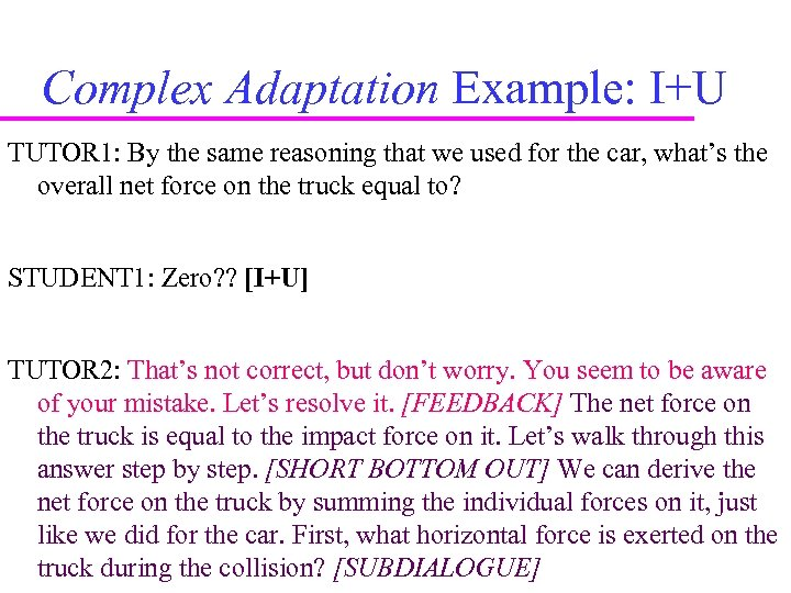 Complex Adaptation Example: I+U TUTOR 1: By the same reasoning that we used for
