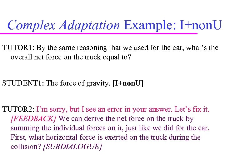 Complex Adaptation Example: I+non. U TUTOR 1: By the same reasoning that we used