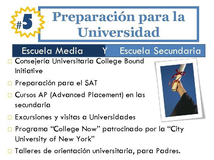 # 5 Preparación para la Universidad Escuela Media Y Escuela Secundaria Consejería Universitaria College
