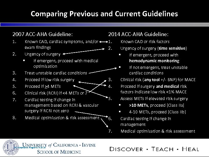 Comparing Previous and Current Guidelines 2007 ACC-AHA Guideline: 2014 ACC-AHA Guideline: 1. 2. 3.