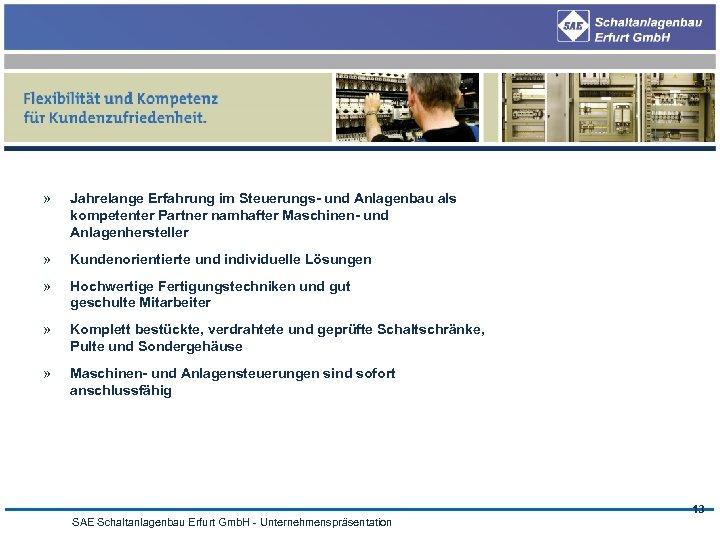 » Jahrelange Erfahrung im Steuerungs- und Anlagenbau als kompetenter Partner namhafter Maschinen- und Anlagenhersteller