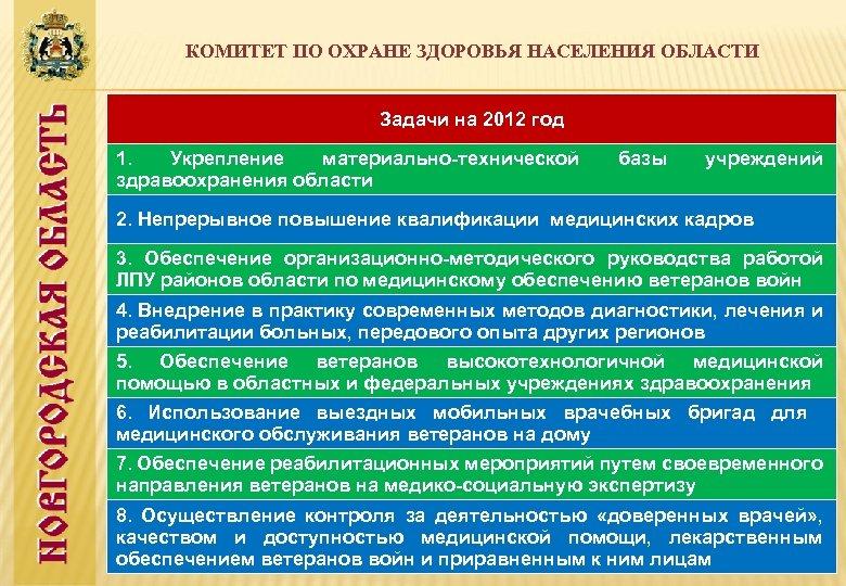 КОМИТЕТ ПО ОХРАНЕ ЗДОРОВЬЯ НАСЕЛЕНИЯ ОБЛАСТИ Задачи на 2012 год 1. Укрепление материально-технической здравоохранения