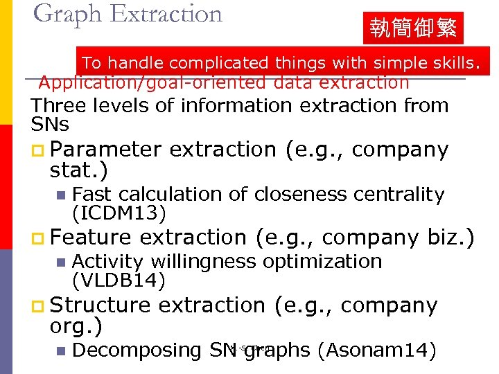 Graph Extraction 執簡御繁 To handle complicated things with simple skills. Application/goal-oriented data extraction Three