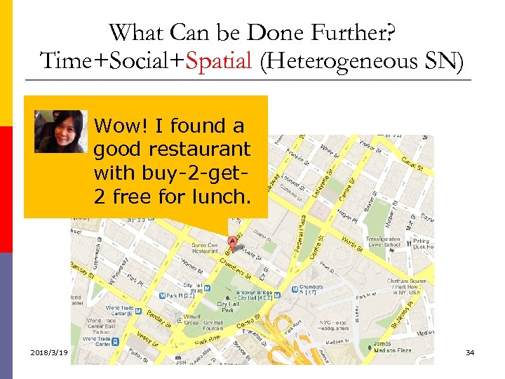 What Can be Done Further? Time+Social+Spatial (Heterogeneous SN) Wow! I found a Let me