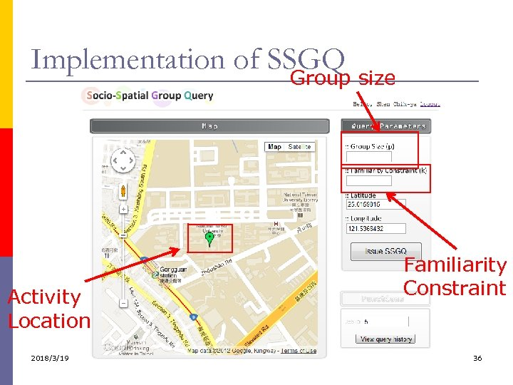 Implementation of SSGQ Group size Activity Location 2018/3/19 Familiarity Constraint 36