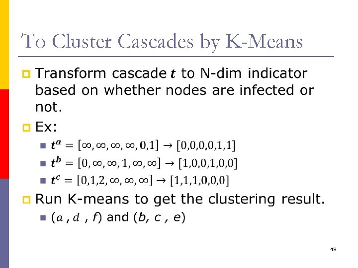 To Cluster Cascades by K-Means p 48