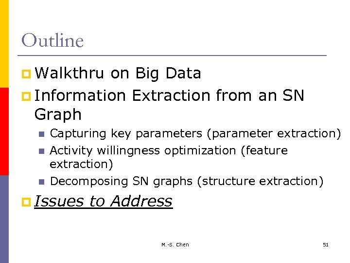 Outline p Walkthru on Big Data p Information Extraction from an SN Graph Capturing