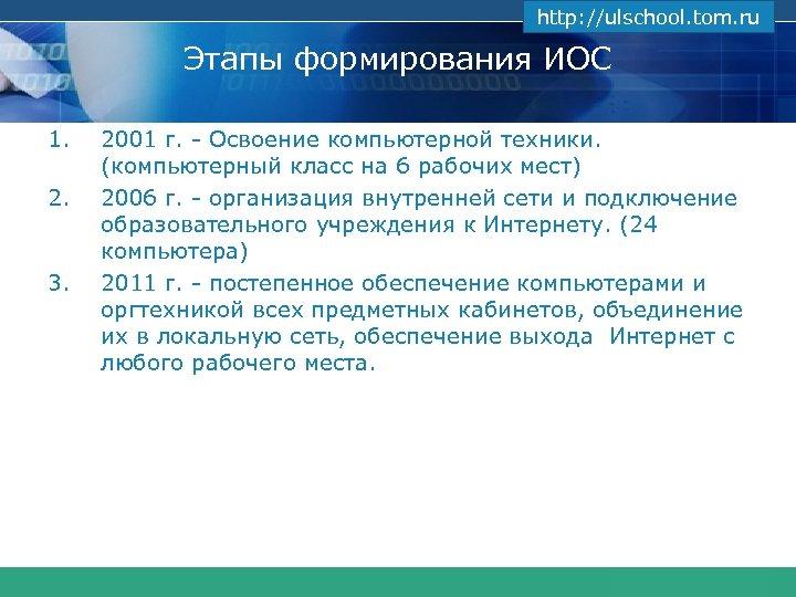 www. themegallery. com http: //ulschool. tom. ru Этапы формирования ИОС 1. 2. 3. 2001