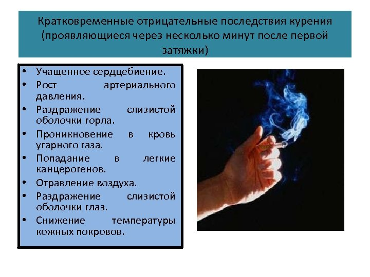 Кратковременные отрицательные последствия курения (проявляющиеся через несколько минут после первой затяжки) • Учащенное сердцебиение.