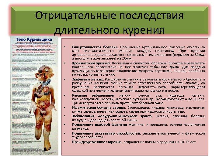 Отрицательные последствия длительного курения • • • Гипертоническая болезнь. Повышение артериального давления отчасти за
