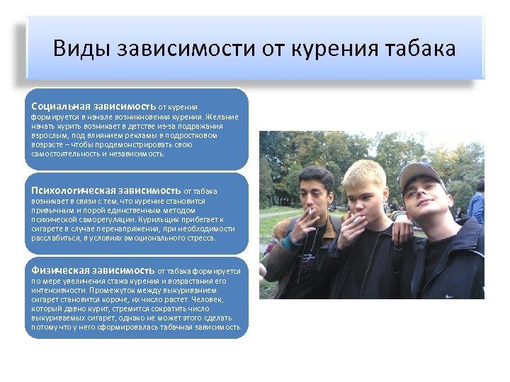Виды зависимости от курения табака Социальная зависимость от курения формируется в начале возникновения курения.