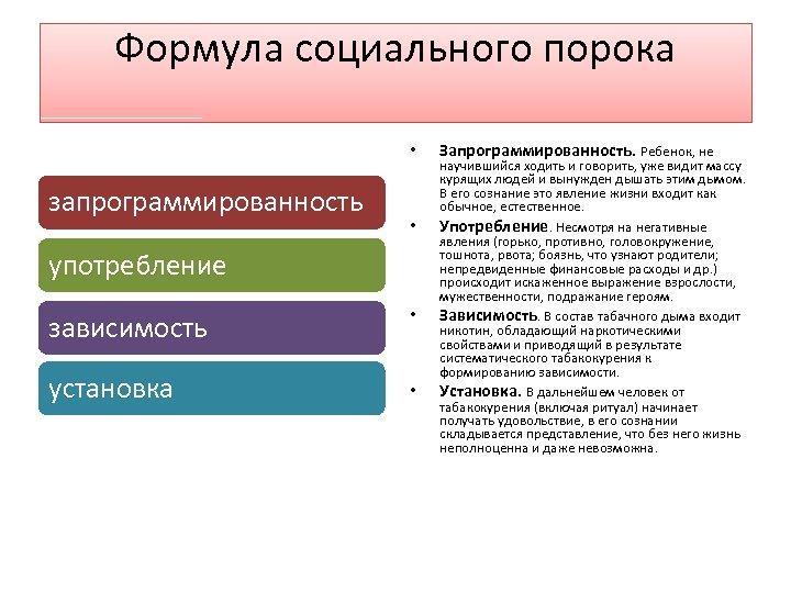 Формула социального порока • запрограммированность • употребление зависимость установка • • Запрограммированность. Ребенок, не