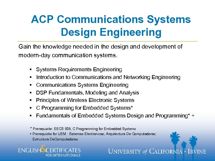 ACP Communications Systems Design Engineering Gain the knowledge needed in the design and development