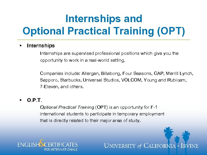 Internships and Optional Practical Training (OPT) § Internships are supervised professional positions which give