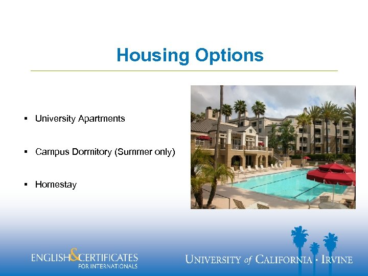 Housing Options § University Apartments § Campus Dormitory (Summer only) § Homestay