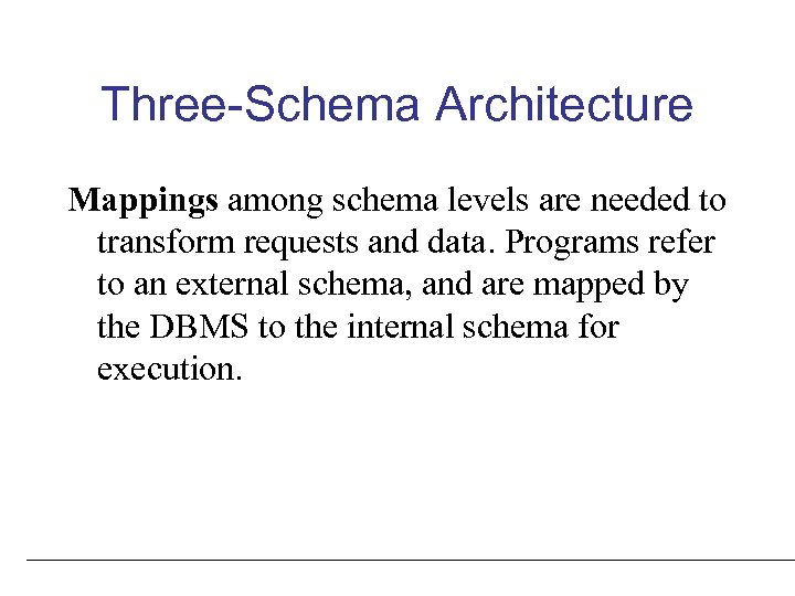 Three-Schema Architecture Mappings among schema levels are needed to transform requests and data. Programs