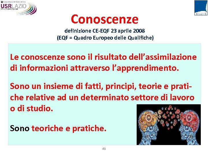 Conoscenze definizione CE-EQF 23 aprile 2008 (EQF = Quadro Europeo delle Qualifiche) Le conoscenze