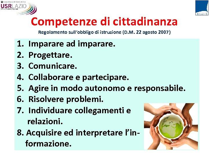 Competenze di cittadinanza Regolamento sull'obbligo di istruzione (D. M. 22 agosto 2007) 1. Imparare