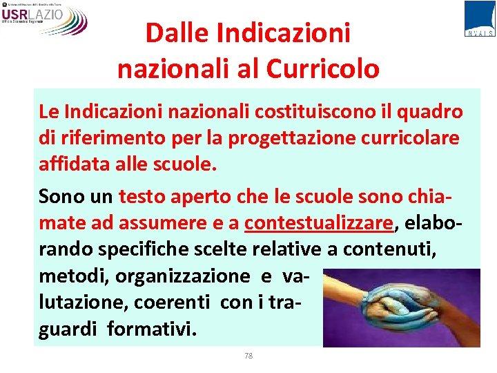 Dalle Indicazioni nazionali al Curricolo Le Indicazioni nazionali costituiscono il quadro di riferimento per