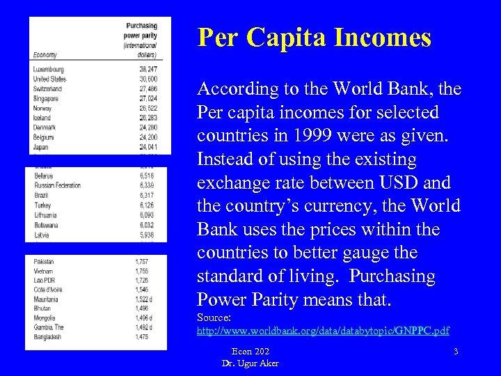 Per Capita Incomes According to the World Bank, the Per capita incomes for selected