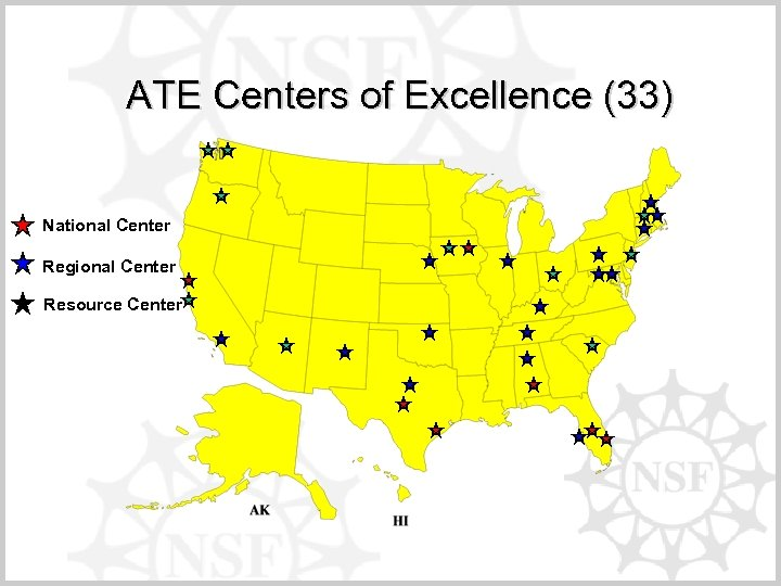 ATE Centers of Excellence (33) National Center Regional Center Resource Center