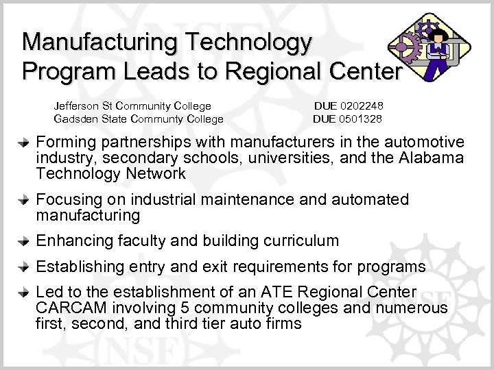 Manufacturing Technology Program Leads to Regional Center Jefferson St Community College DUE 0202248 Gadsden