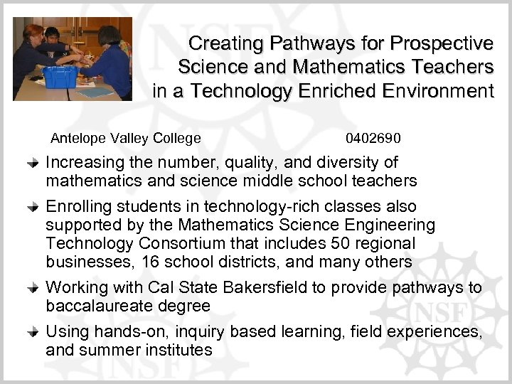 Creating Pathways for Prospective Science and Mathematics Teachers in a Technology Enriched Environment Antelope