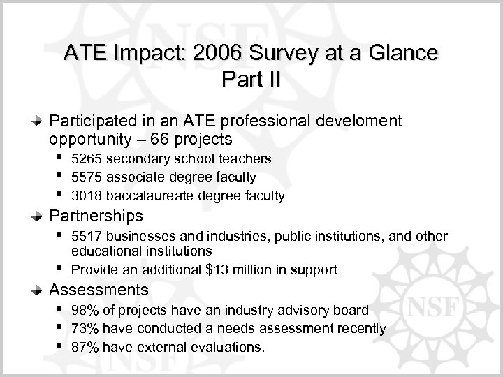 ATE Impact: 2006 Survey at a Glance Part II Participated in an ATE professional
