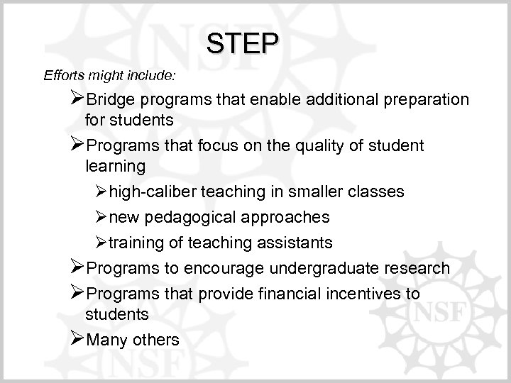 STEP Efforts might include: ØBridge programs that enable additional preparation for students ØPrograms that