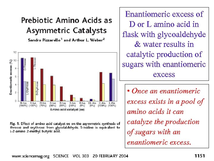 Enantiomeric excess of D or L amino acid in flask with glycoaldehyde & water