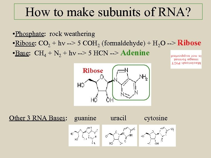 How to make subunits of RNA? • Phosphate: rock weathering • Ribose: CO 2
