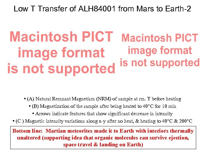 Low T Transfer of ALH 84001 from Mars to Earth-2 • (A) Natural Remnant