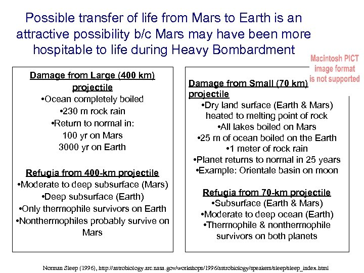 Possible transfer of life from Mars to Earth is an attractive possibility b/c Mars