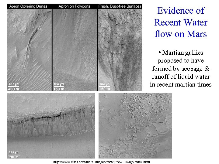 Evidence of Recent Water flow on Mars • Martian gullies proposed to have formed