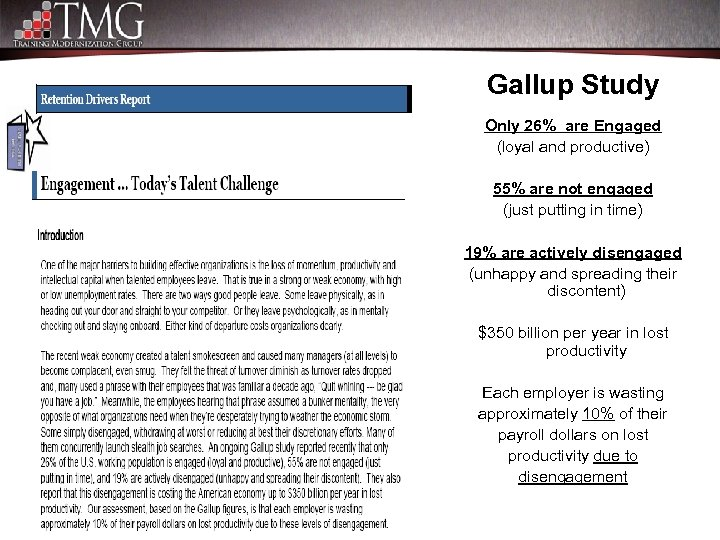 Gallup Study Only 26% are Engaged (loyal and productive) 55% are not engaged (just