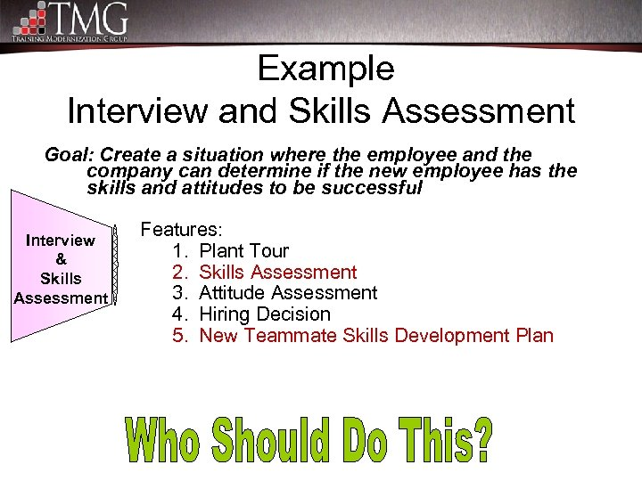 Example Interview and Skills Assessment Goal: Create a situation where the employee and