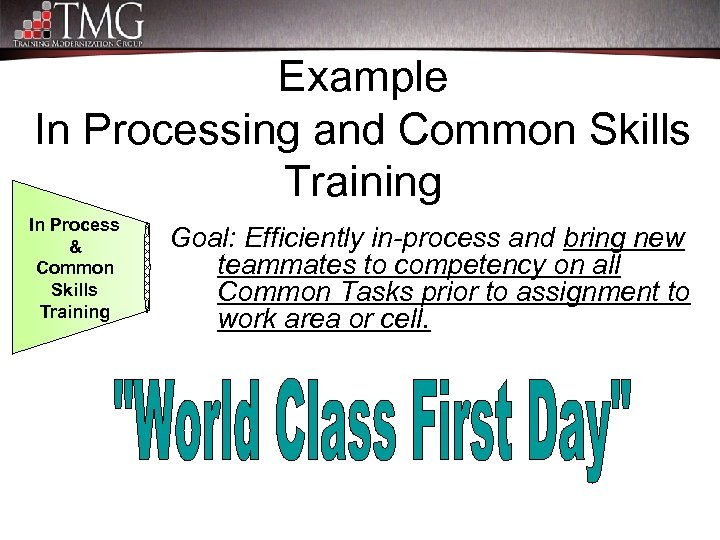Example In Processing and Common Skills Training In Process & Common Skills Training Goal: