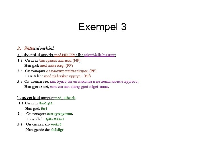 Exempel 3 3. Sättsadverbial a. adverbial uttryckt med NP; PP; eller adverbiella bisatser: 1.