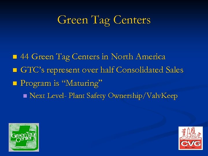 Green Tag Centers 44 Green Tag Centers in North America n GTC's represent over