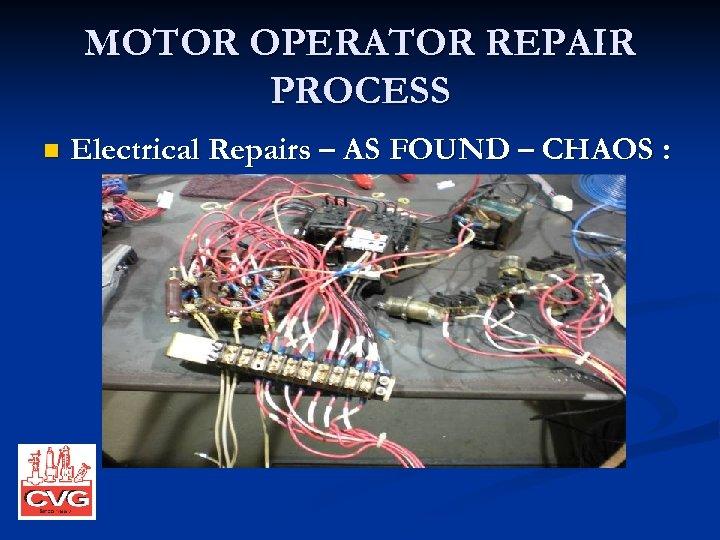 MOTOR OPERATOR REPAIR PROCESS n Electrical Repairs – AS FOUND – CHAOS :