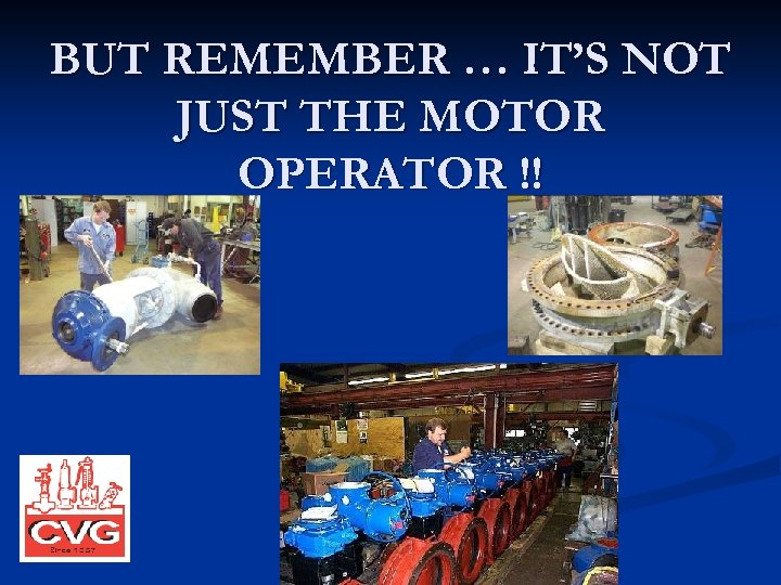 BUT REMEMBER … IT'S NOT JUST THE MOTOR OPERATOR !!