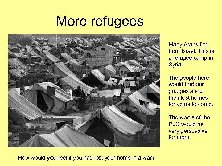 More refugees Many Arabs fled from Israel. This is a refugee camp in Syria.