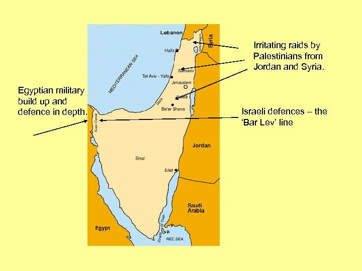 Irritating raids by Palestinians from Jordan and Syria. Egyptian military build up and defence