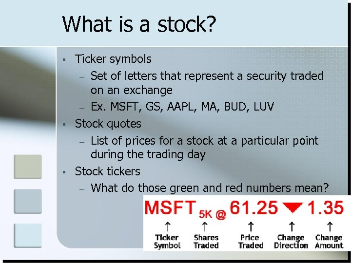 What is a stock? § § § Ticker symbols – Set of letters that