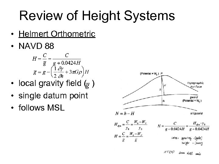 Review of Height Systems • Helmert Orthometric • NAVD 88 • local gravity field