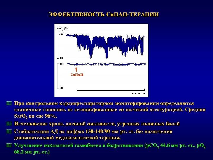 ЭФФЕКТИВНОСТЬ Си. ПАП-ТЕРАПИИ Си. ПАП Ш При контрольном кардиореспираторном мониторировании определяются единичные гипопноэ, не