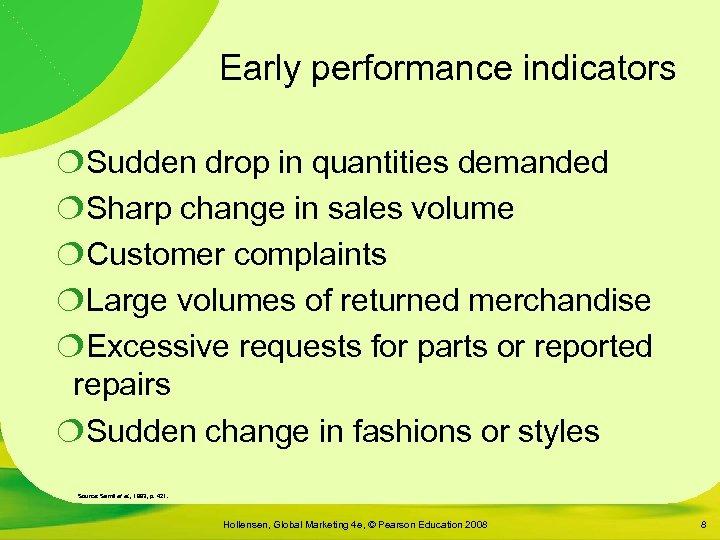 Early performance indicators ¦Sudden drop in quantities demanded ¦Sharp change in sales volume ¦Customer