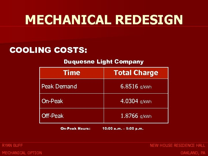 MECHANICAL REDESIGN COOLING COSTS: Duquesne Light Company Time Total Charge Peak Demand 6. 8516