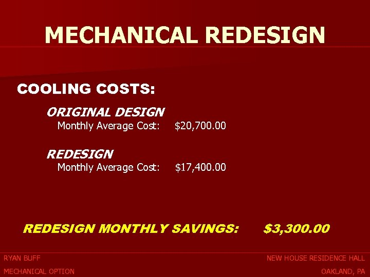 MECHANICAL REDESIGN COOLING COSTS: ORIGINAL DESIGN Monthly Average Cost: REDESIGN Monthly Average Cost: $20,